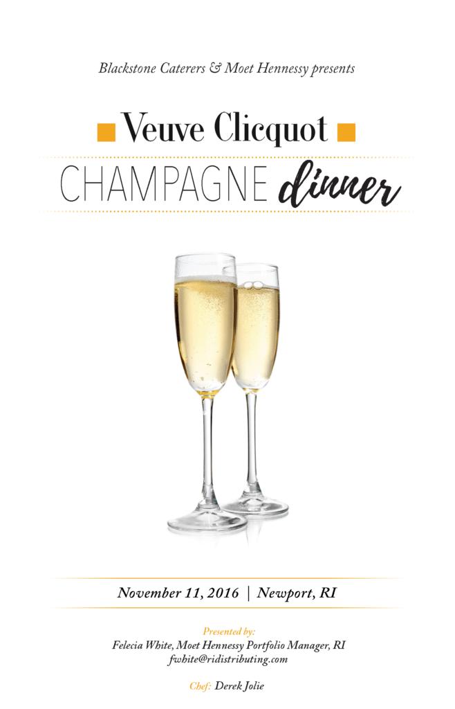 Blackstone Catering Veuve Champagne Dinner