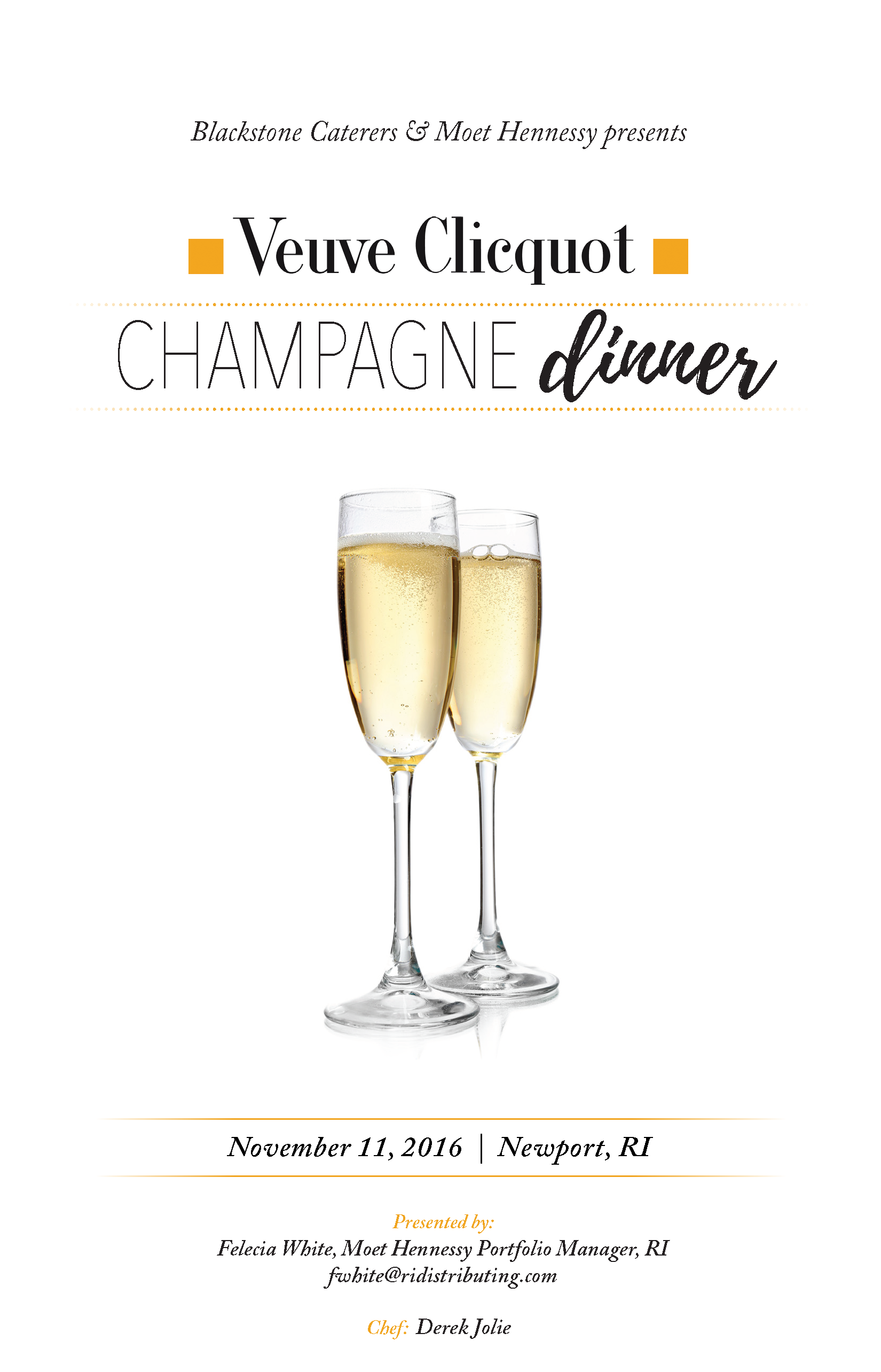 Blackstone Catering Veuve Champagne Dinner